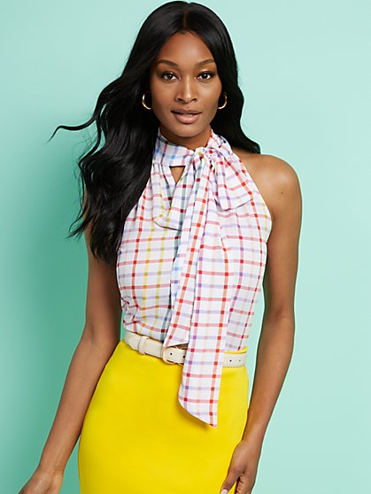 Plaid Tie-Front Halter Blouse - 7th Avenue - New York & Company