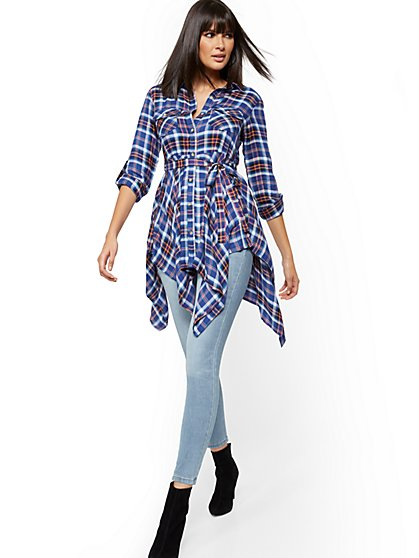 Plaid Tie-Front Tunic Shirt - New York & Company