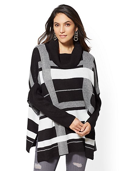 Plaid Turtleneck Poncho - New York & Company