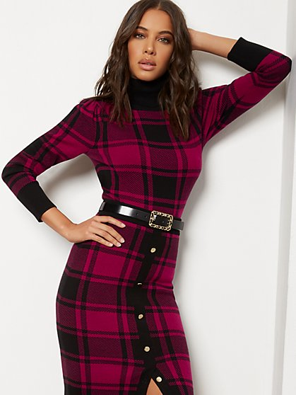 Plaid Turtleneck Sweater - 7th Avenue - New York & Company