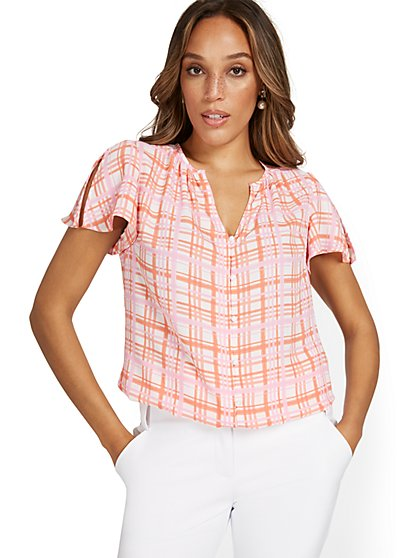 Plaid V-Neck Button-Front Blouse - New York & Company