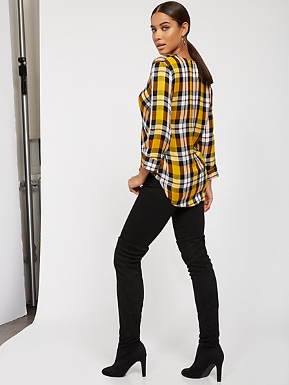 Plaid V-Neck Wrap-Front Shirt - New York & Company