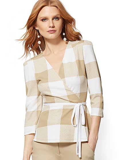 Plaid Wrap Peplum Top - 7th Avenue - New York & Company