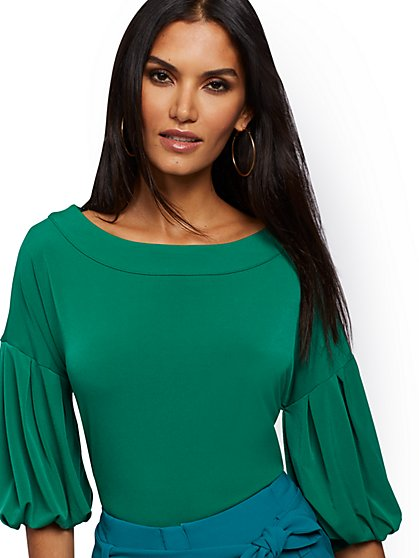 Pleated Balloon-Sleeve Top - 7th Avenue - New York & Company