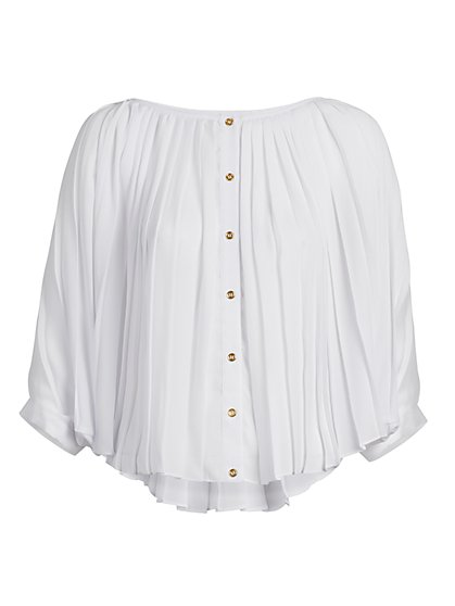 Pleated Button-Front Blouse - New York & Company