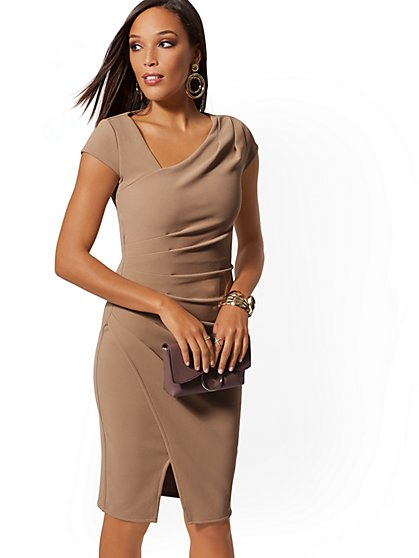 Pleated Cap-Sleeve Sheath Dress - 7th Avenue - New York & Company