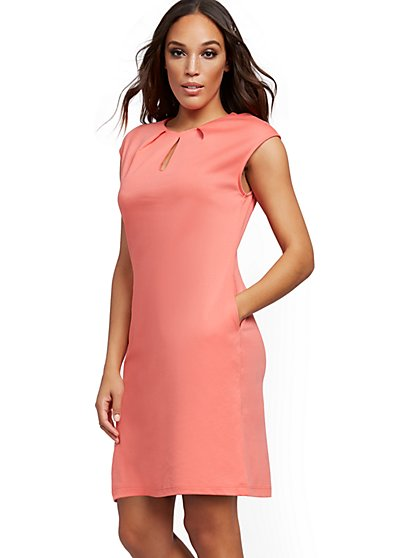 Pleated Cotton Keyhole Shift Dress - New York & Company