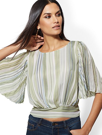 Pleated Flutter-Sleeve Top - New York & Company