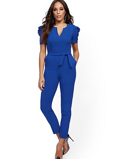 Pleated Puff-Sleeve Jumpsuit - New York & Company