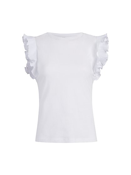 Pleated Ruffle-Sleeve Top - New York & Company
