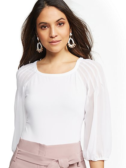 Pleated Scoopneck Top - 7th Avenue - New York & Company