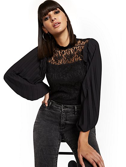Pleated-Sleeve Lace Blouse - New York & Company