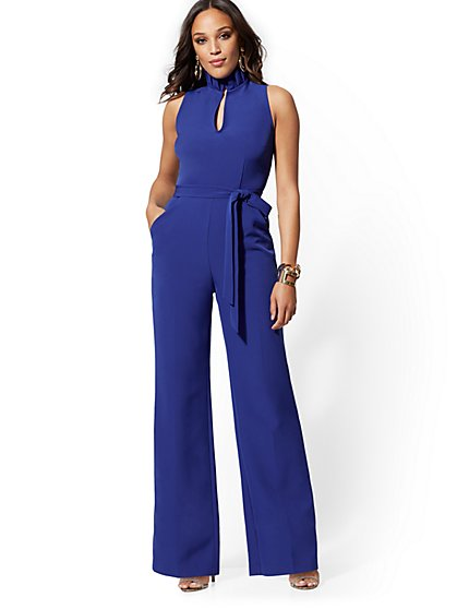 Pleated V-Neck Jumpsuit - New York & Company