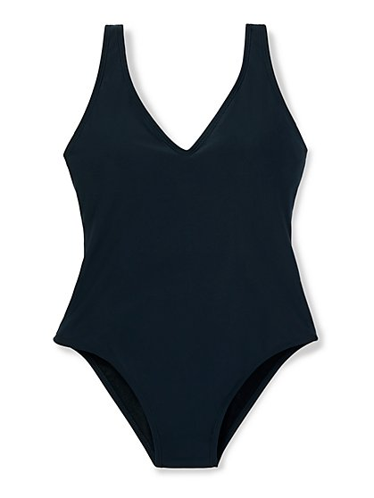 Plunge Strappy Back One-Piece Swimsuit - New York & Company
