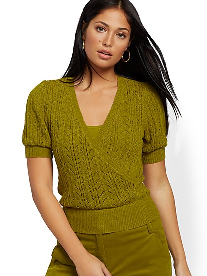 Pointelle-Knit Wrap Sweater - 7th Avenue - New York & Company