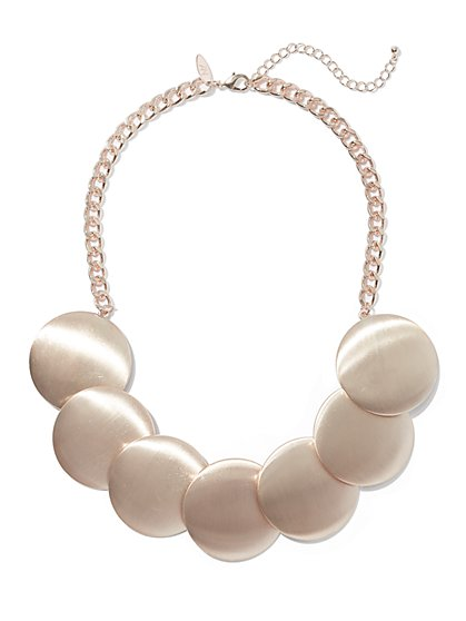 Polished Disk Statement Necklace - New York & Company