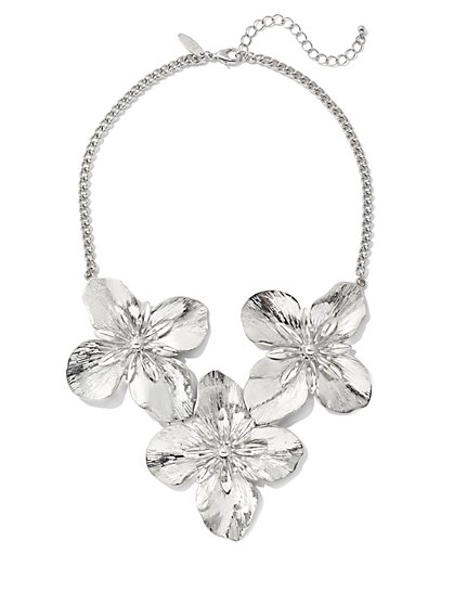 Polished Floral Statement Necklace - New York & Company