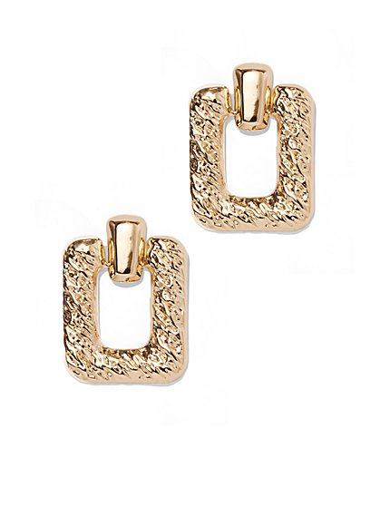 Polished Goldtone Open-Square Drop Earring - New York & Company