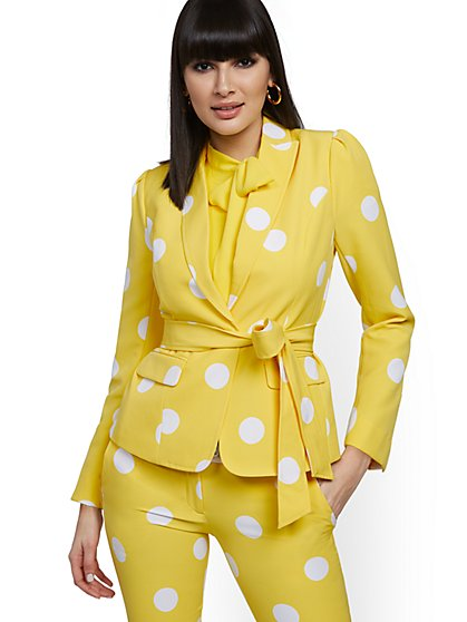 Polka-Dot Belted One-Button Jacket - 7th Avenue - New York & Company