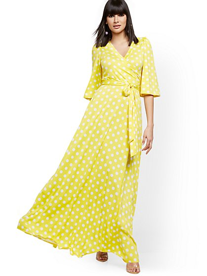 Polka-Dot Flutter-Sleeve Wrap Maxi Dress - New York & Company