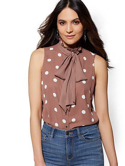 Polka Dot Ruffled Bow Blouse - New York & Company