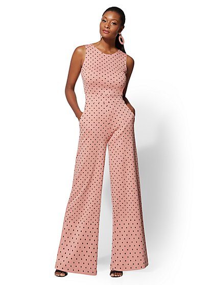 Polka-Dot Tie-Back Jumpsuit - New York & Company