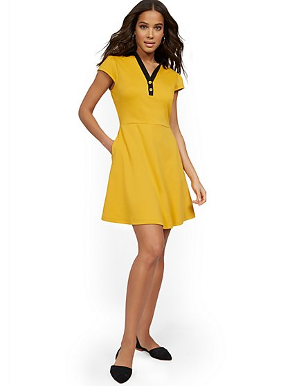 Polo Fit and Flare Dress - City Knits - New York & Company