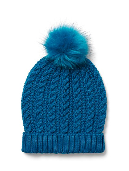 Pom-Pom Cable-Knit Hat - New York & Company