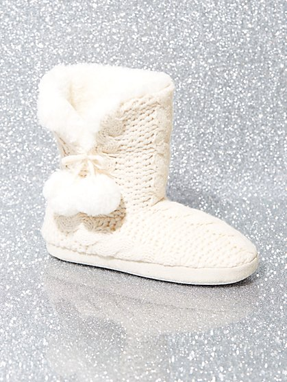 Pom-Pom Knit Boot Slipper - New York & Company