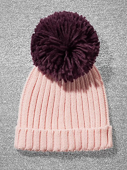 Pom-Pom Ribbed-Knit Hat - New York & Company