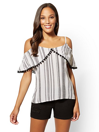Pom-Pom Trim Cold-Shoulder Blouse - New York & Company