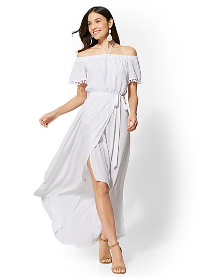 Pom-Pom Trim Off-The-Shoulder Maxi Dress - New York & Company