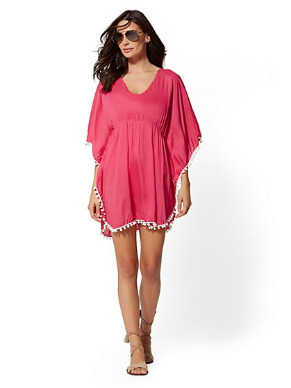 Pom-Pom Trim V-Neck Cover Up - NY&C Swimwear - New York & Company