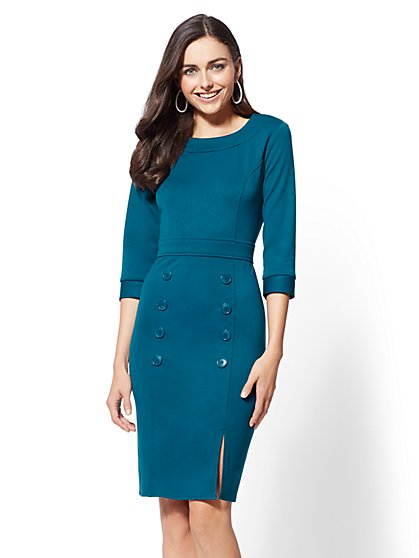 Ponte Button-Accent Sheath Dress - New York & Company