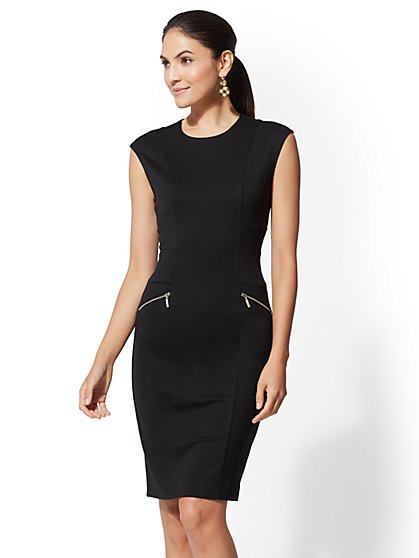 Ponte Zip-Accent Sheath Dress - New York & Company