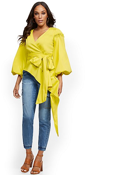 Poplin Asymmetrical-Hem Top - Lily & Cali - New York & Company