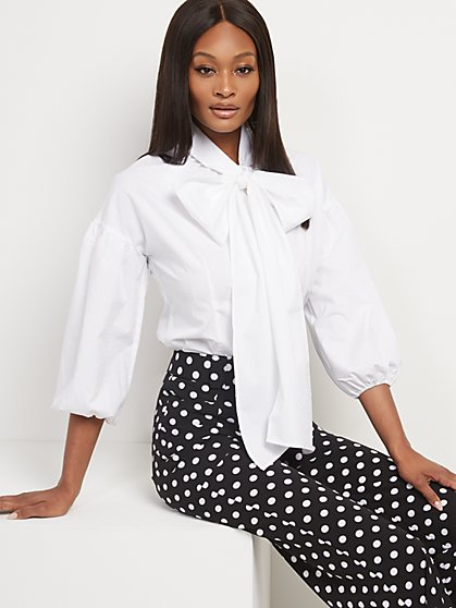 Poplin Bow-Accent Shirt - New York & Company