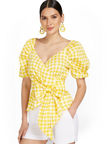 Poplin Bow-Front Wrap Top - New York & Company