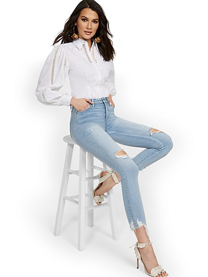 Poplin Lattice Balloon-Sleeve Top - Lily & Cali - New York & Company