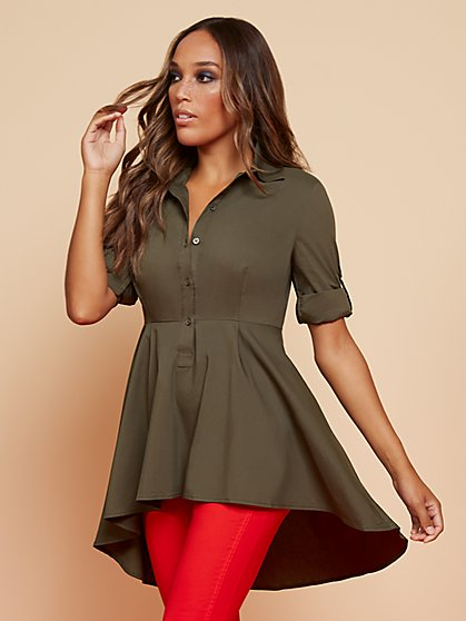 Poplin Peplum-Hem Tunic Shirt - New York & Company