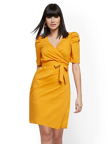 Poplin Puff-Sleeve Wrap Dress - New York & Company