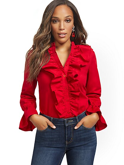 Poplin Ruffled Button-Front Shirt - New York & Company