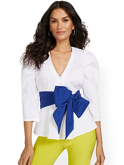 Poplin Shirred-Shoulder Bow-Front Shirt - New York & Company