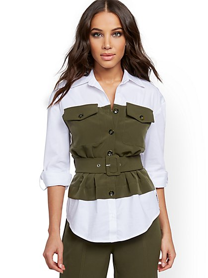 Poplin Twofer Top - 7th Avenue - New York & Company