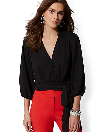 Print Belted Wrap Blouse - 7th Avenue - New York & Company