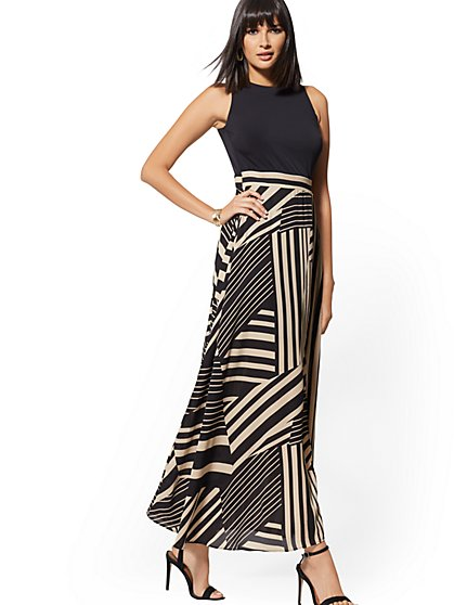 Print Chiffon-Overlay Maxi Dress - New York & Company