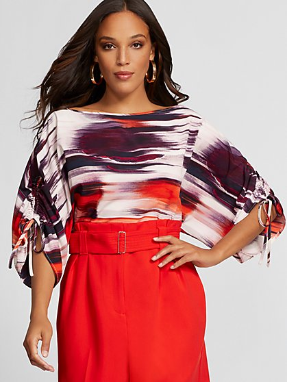 Print Ruched Tie-Sleeve Blouse - Gabrielle Union Collection - New York & Company