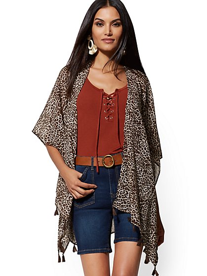 c75cc50d3a9 Print Tassel-Accent Kimono Jacket - New York   Company