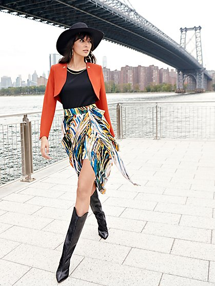 Print Tie-Waist Skirt - NYC Strong Collection - New York & Company
