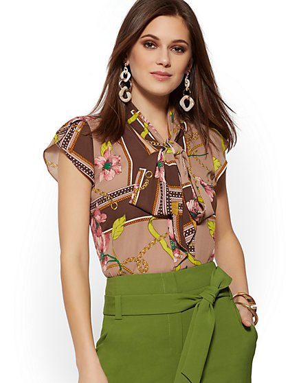 Print Tulip-Sleeve Bow Blouse - 7th Avenue - New York & Company